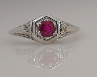 Vintage Antique Ruby Ring 14k White Gold Filigree Red July Engagement Promise Unusual Unique