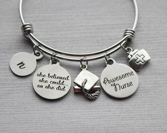 She Believed She Could So She Did Awesome Nurse Bracelet, Nurse Bracelet, Nurse Gifts, Nurse Gift Ideas, Nurse Jewelry, Nurse Ideas, Nurse