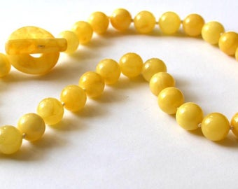 Amber necklace, Baltic amber necklace, egg yolk amber beads, polished amber, Butterscotch Baltic amber