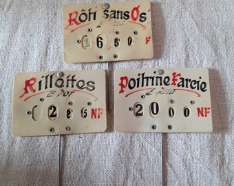 France Antique French Vintage , 3 Vintage Food signs  , Handwritten ,Butchers Shop , Paris Epicerie , Old French Shop, French Shop Old Signs