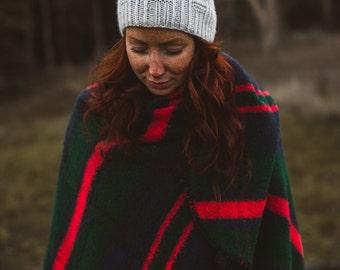 Tread Slouch Hat PDF Knitting Pattern Textured Modern toque Ribbed Garter Pom Pom