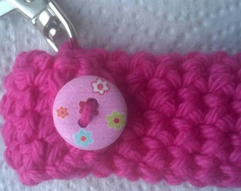 Pretty Pink Lip Balm Holder with painted button, Chapstick Case, Lip Balm Cozy Keyring, Gifts for Her, Stocking Stuffers