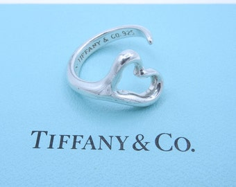 Tiffany & Co Elsa Peretti Open Heart Ring - Sterling Silver Open Ring - Size 6 3/4 - Designer Jewelry - Vintage Tiffany - Valentine # 4369