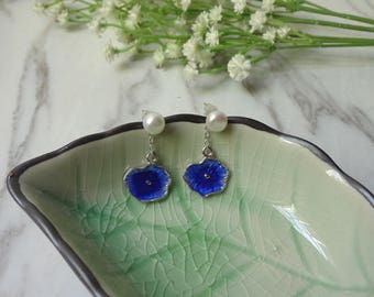 Burn blue han edition fashionable cloisonne with pearl earnail to prevent allergic bride earrings 0320-2