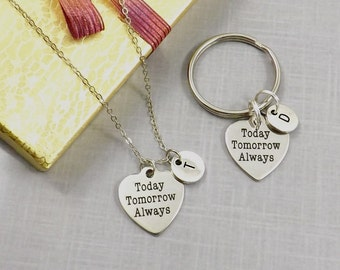 Couples Set, Boyfriend gift, Today Tomorrow Always, Couple Keychain, Necklace for Couple, Wedding Gift, Girlfriend Gift, Anniversary Gift