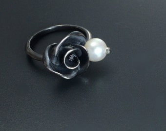 Black rose ring Rose silver ring Goth jewelry