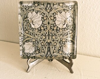 Vintage Handmade Glass Paper Weight. Art Deco. Vintage Flower Paper. Desk & Office. Shabby Chic Cottage