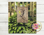 Personalized Garden Flag - Shabby Chic Initial - Brown Weathered Wood - Monogrammed - Home Decor - Wedding Gift - House Warming