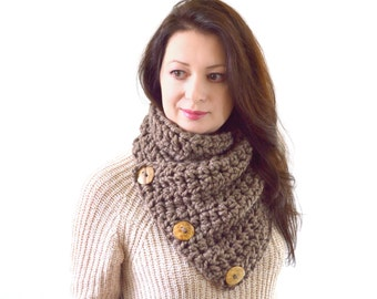 Chunky Neck Warmer Cowl Scarf with Three Natural Coconut Shell Buttons // The North Bay // in Taupe