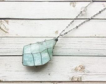 Raw Aquamarine And Quartz Necklace Wire Wrapped Necklace | Aquamarine Necklace | Raw Aquamarine | Quartz Necklace | Wire Wrapped Crystal |