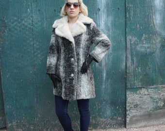 FAUX PERSIAN & MINK 1960's Faux Fur Grey Sheared Curly Lambswool Coat with White Mink Trim, by Westfield