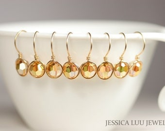 Set of 4-10 Gold Swarovski Crystal Earrings Bridal Earrings Bridesmaids Earrings Bridesmaids Gifts Yellow Gold Earrings Yellow Gold Jewelry
