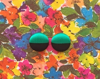 Stud Earrings / Fabric Covered Buttons / Wholesale Jewelry / Emerald Green and Black / Color Blocking / Bridesmaid Gifts / Boutique Stock