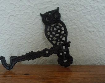 Vintage Cast Iron Owl Swing Hook Plant Holder