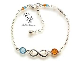 Birthstone Infinity Bracelet Birthstone Bracelet Sterling Silver Bracelet Mothers Bracelet Mom Jewelry Birthstone Jewelry Custom Bracelet