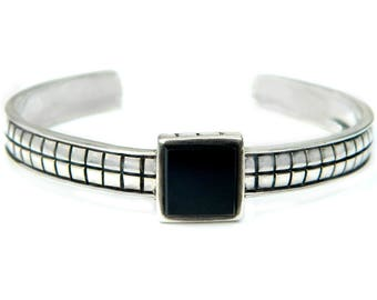 Black Onyx Sterling Cuff Bracelet Mod Geometric Modernist Squares Vintage 925 Jewelry For Women Gift For Her Mod Modernist Silver