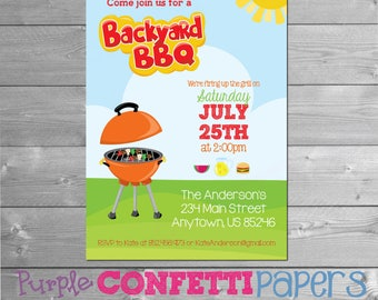 BBQ Invitation, Printable BBQ Invitation, Summer BBQ, Summer Party, Backyard Barbecue, Summer Barbecue, Pool Party, Grilling Party