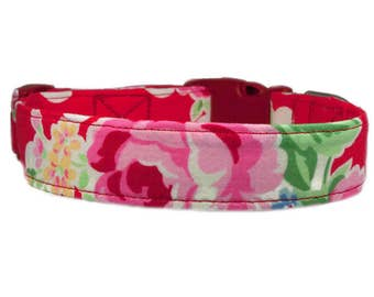 Flower Dog Collar / Flowers & Polka Dots Red Dog Collar