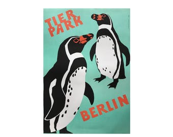 SALE 10% OFF Original Vintage Zoo Poster. Berlin. Germany. Tierpark. Penguin. Advertising Poster. 2017-059