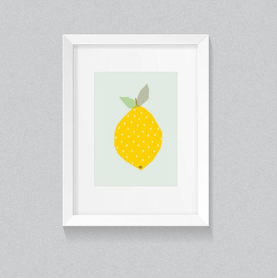 Geometric Simple Mid Century Modern Bright Yellow Lemon Polkadots Kawaii Cute Modern Trendy Print - Digital Instant Download