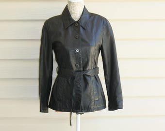 Petite Sophisticate Black Leather Jacket Button Front Belted Small Fashion Chic Style P