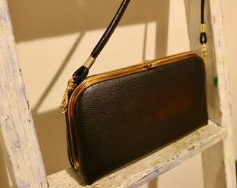 Genuine Vintage Black & Gold handbag
