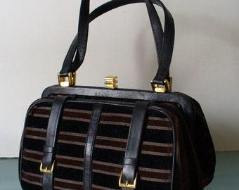 Saks Fifth Avenue Made in Italy Velvet & Leather Satchel