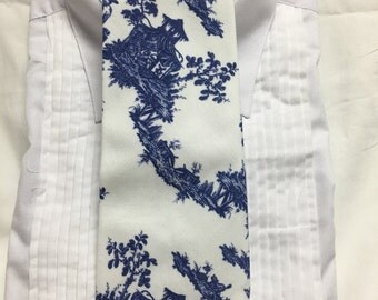 Vintage Chinosoire Blue China print Tie-able Neck Tie