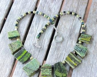 Jasper Jewelry - Jasper necklace - natural stone jewelry - Striped Jasper necklace - Bib necklace - Pantone Green jewelry, Green jasper bib