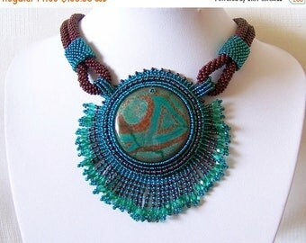 15% SALE Bead Embroidery Beadwork Pendant Necklace  with Agate - EMERALD RUNE - emerald and brown - statement necklace - big pendant necklac