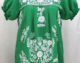 "Mexican Peasant Blouse Top Hand Embroidered: ""La Mariposa"" Green with White Embroidery"