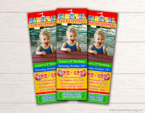 Carnival Ticket Birthday Invitation - Printable Boys Circus Invite - Big Top Themed Invitation - Unisex Circus Carnival Party Package - BP31