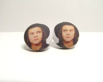 Harry Styles Fabric Button Earrings