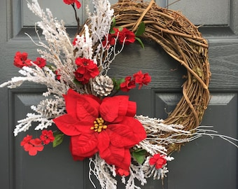 Poinsettia Wreath, Christmas Wreaths, Christmas Poinsettias, Gift for Her, Red and White, Christmas Decor, Poinsettia Door Wreath, Red