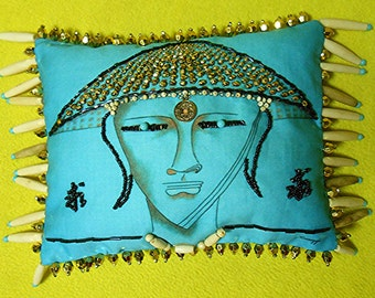 """BEADED PORTRAIT PILLOW, Whimsical Buddha, 8.5""""x 6.5"""", My Original Painting Printed on Fabric, Beaded Accent Pillow  Bamboo Fringe, Free Ship"""