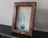 The Great Gatsby tall ship art print vintage book page F Scott Fitzgerald framed wall art