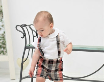 Baby boy outfit Baby boy shorts and suspender set Baby boy baptism outfit Baby boy 1st birthday outfit Baby shorts Black and red checkered