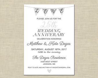 Wedding Anniversary Party Invitation Custom Printable 5x7, Love Bunting