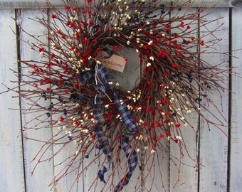 Memorial Day Wreath - Primitive Patriotic Wreath - Patriotic Wreath - 4th of july Wreath - Americana Wreath - Summer Wreath - July Wreath