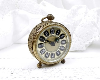 Small Working Vintage 1950s Metal Mechanical Wind Up Alarm Clock with Roman Numerals and Filigree Decoration, Mid Century, French Decor