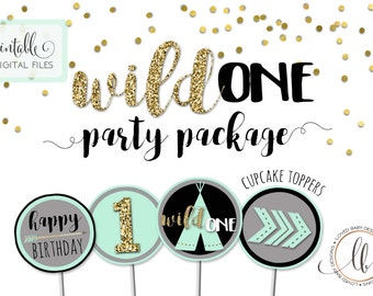 Wild One Birthday Party Package, Wild 1 Birthday, Printable - Tribal Birthday, Pow Wow Birthday Package, Printable Digital Files