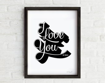 I Love You Art Print, Love Print, Wall Art