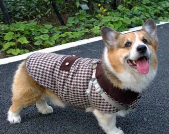 Dogtooth coat for dog Wool houndstooth check tweed pet coat with fleece lining Beige dark brown houndstooth dog jecket ( LB-MM-CG / Corgi M)