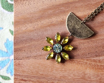 brass and vintage glass daisy necklace - lemon and lime - 30 inches