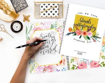 Brush Calligraphy Starter Kit, Printable Wisdom; learn No Fuss Calligraphy kit how to calligraphy instruction book calligraphy brush pen