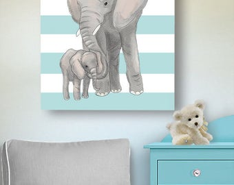 Elephant Watercolor Canvas Wall Art, Mom and Baby Elephant Safari Nursery Art, Jungle Animals