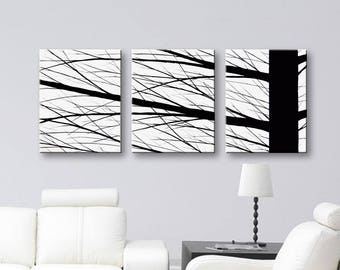 """Black and white canvas painting wall art Home decor Canvas Art Wall Decor Original Paintings 48""""x20"""""""