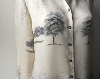 """Ivory satin blouse Graphic tree photo print wearable art long loose fit top long sleeves  business to casual blouse avant garde  bust 42"""""""