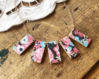 Floral Print Necklace - paper necklace floral necklace boho necklace modern necklace