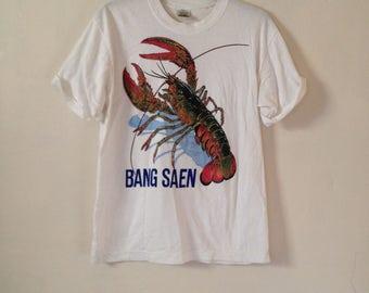 Vintage Tourist Holiday White T-shirt Bang Saen Thailand Lobster Graphic Oversized XL Unisex